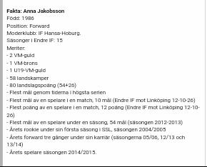 Anna Jakobsson merit